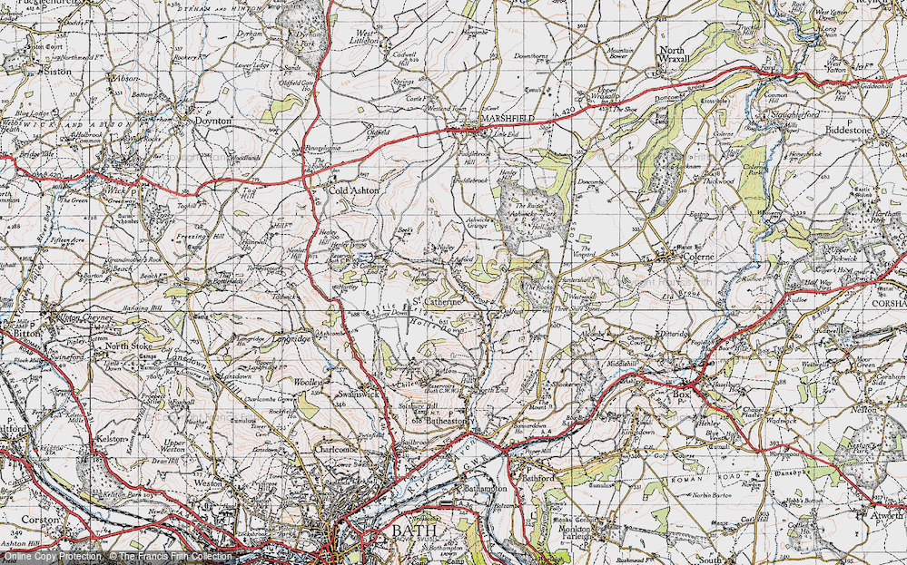 Old Map of Historic Map covering Ashwicke Grange in 1946