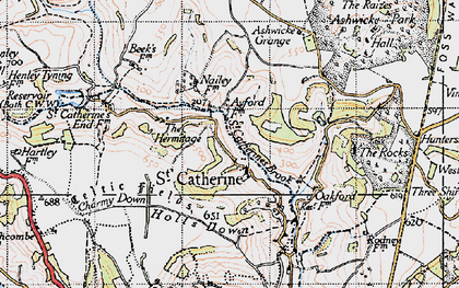 Old map of Ashwicke Grange in 1946