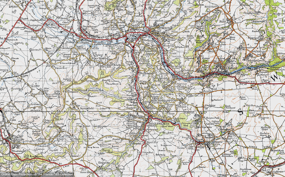 Old Map of Historic Map covering Atcombe Court in 1946