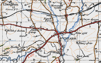 Old map of St Clears in 1946