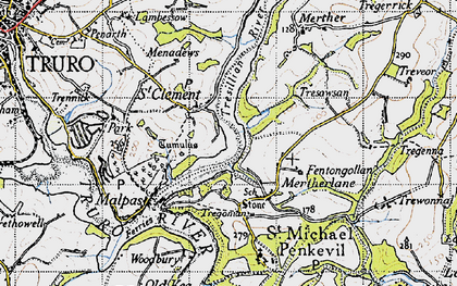 Old map of St Clement in 1946