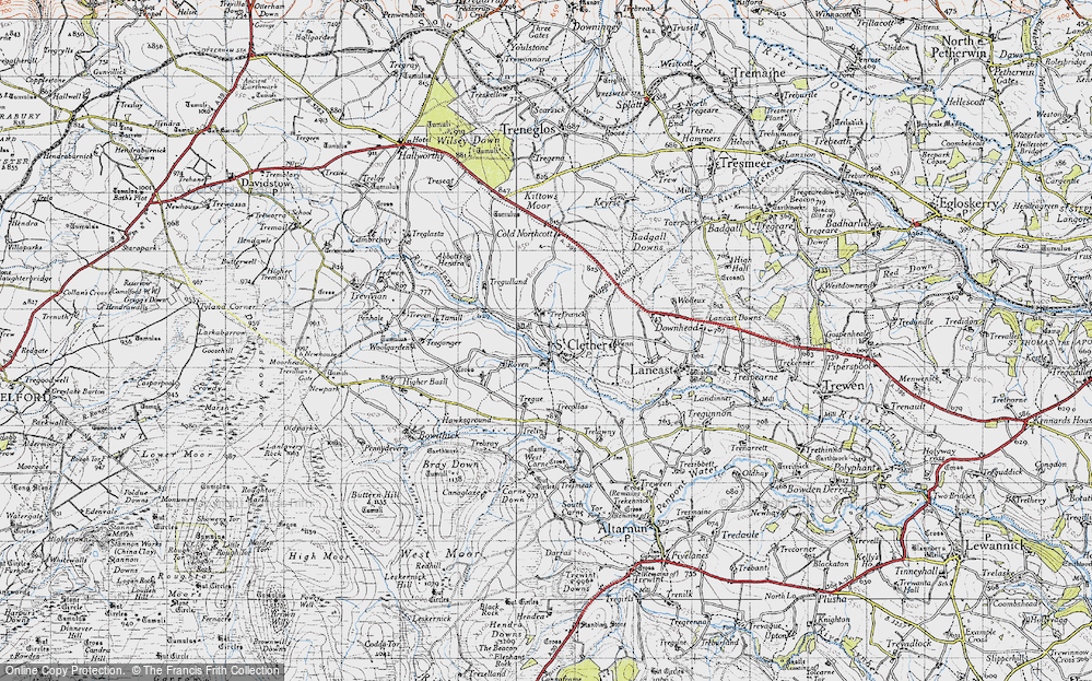 Old Map of Historic Map covering Abbott's Hendra in 1946