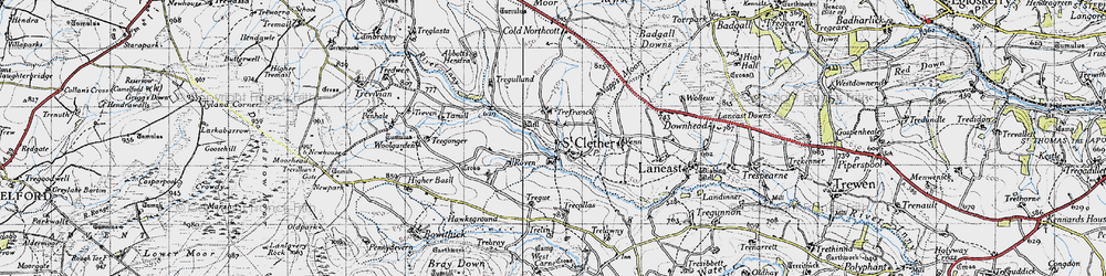 Old map of Abbott's Hendra in 1946