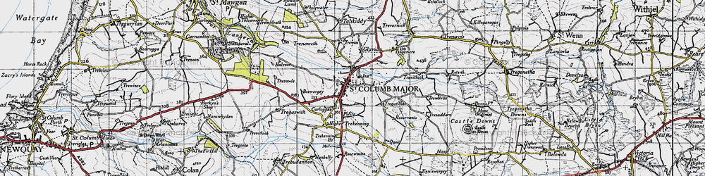 Old map of St Columb Major in 1946