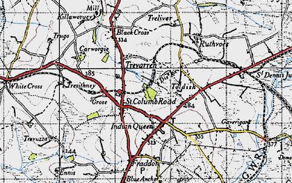 Old map of St Columb Road in 1946