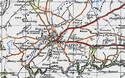 Old map of St Davids in 1946