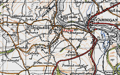 Old map of St Dogmaels in 1947