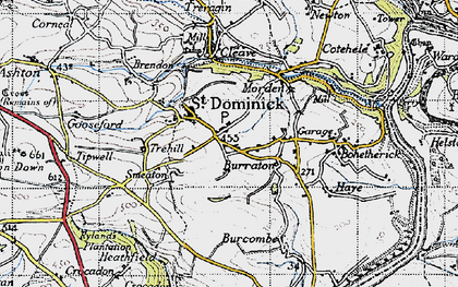 Old map of St Dominick in 1946