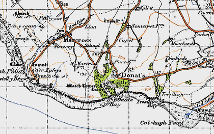 Old map of St Donat's in 1947