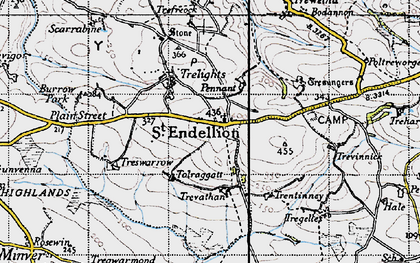 Old map of St Endellion in 1946