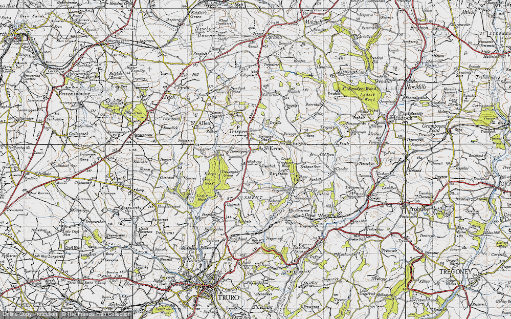 Old Map of Historic Map covering Laniley in 1946