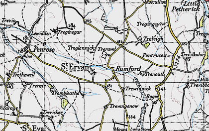 Old map of St Ervan in 1946
