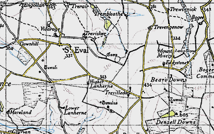 Old map of St Eval in 1946