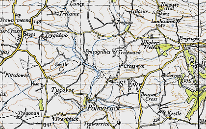 Old map of St Ewe in 1946