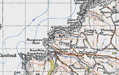 Old map of St Gennys in 1946
