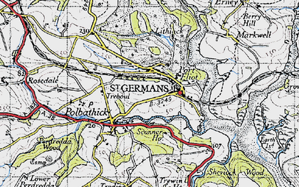 Old map of St Germans in 1946
