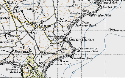 Old map of St Goran in 1946