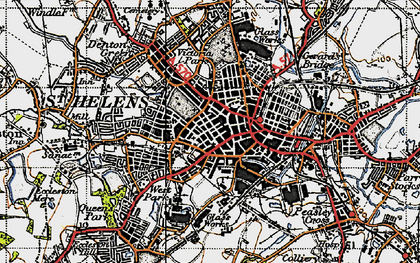 Old map of St Helens in 1947