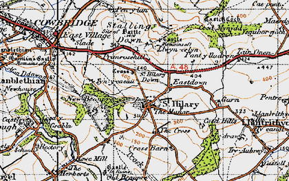 Old map of St Hilary in 1947