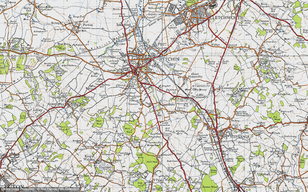 Old Map of Historic Map covering Ashbrook in 1946