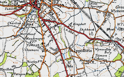 Old map of St Ippolyts in 1946