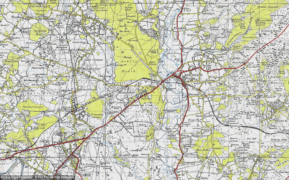 Old Map of Historic Map covering Avon Heath Country Park in 1940