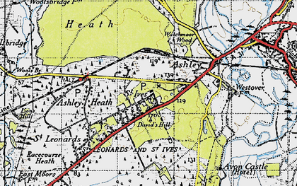 Old map of Avon Heath Country Park in 1940