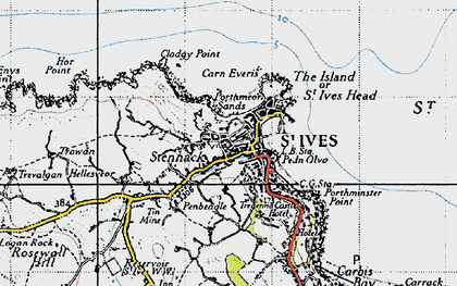 Old map of St Ives in 1946