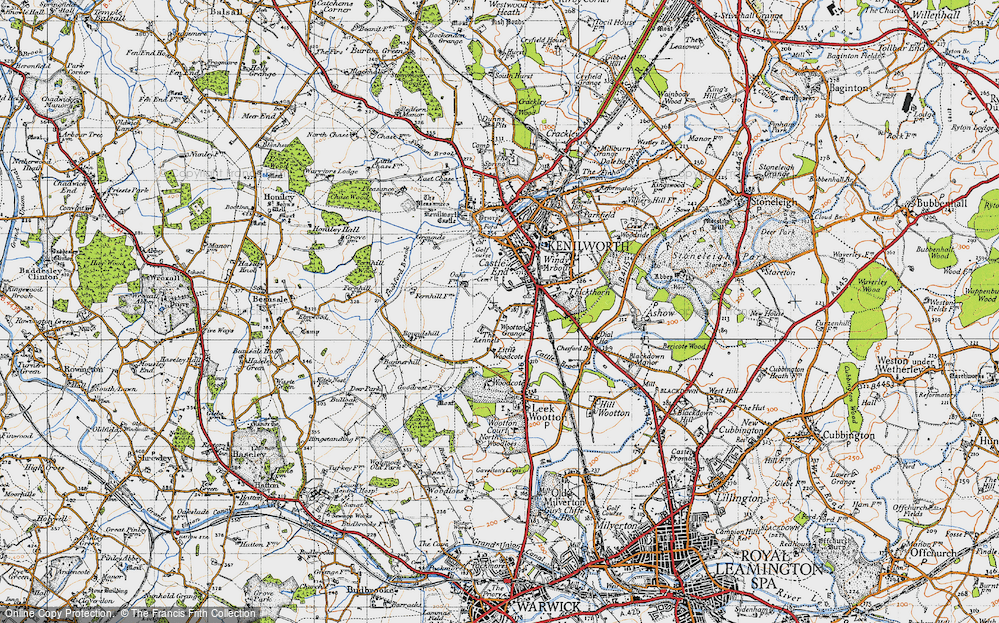 Old Map of Historic Map covering Warwickshire in 1947
