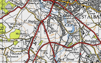 Old map of St Julians in 1946