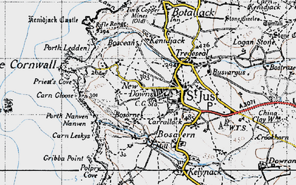 Old map of St Just in 1946