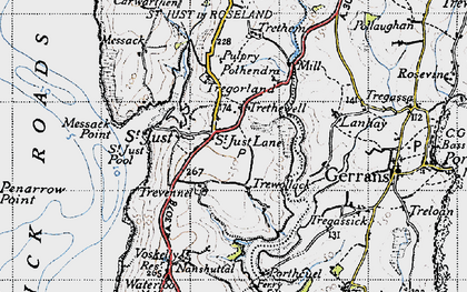 Old map of St Just in Roseland in 1946