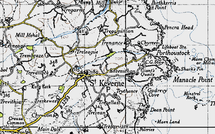 Old map of St Keverne in 1946
