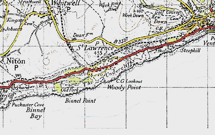 Old map of St Lawrence in 1945