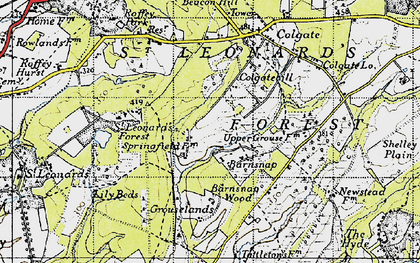 Old map of St Leonard's Forest in 1940