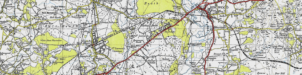 Old map of St Leonards in 1940