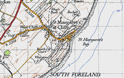 Old map of St Margaret's at Cliffe in 1947