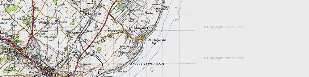 Old map of St Margaret's Bay in 1947