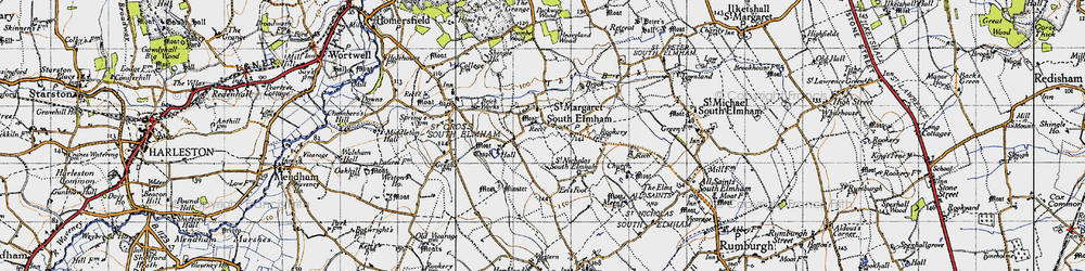 Old map of St Margaret South Elmham in 1946