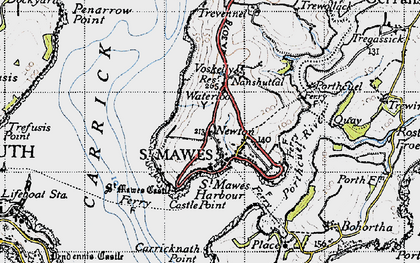 Old map of St Mawes in 1946