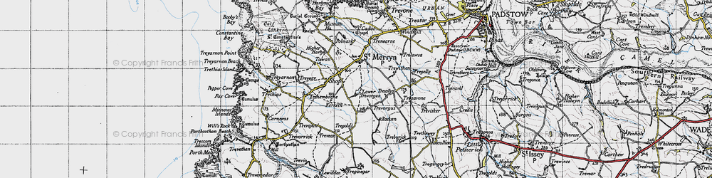 Old map of St Merryn in 1946