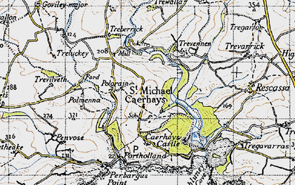 Old map of St Michael Caerhays in 1946