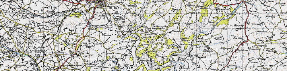 Old map of St Michael Penkivel in 1946