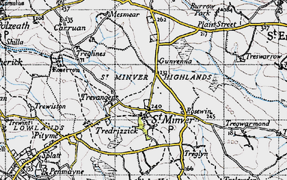 Old map of St Minver in 1946