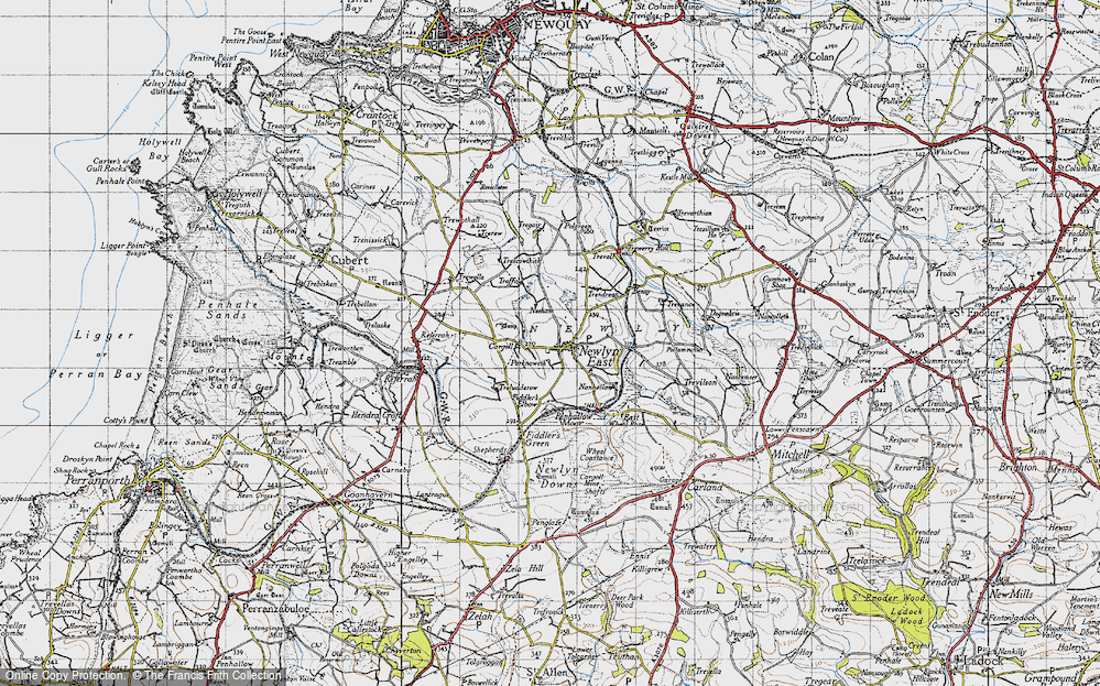 Old Map of Historic Map covering Lappa Valley Steam Rly in 1946