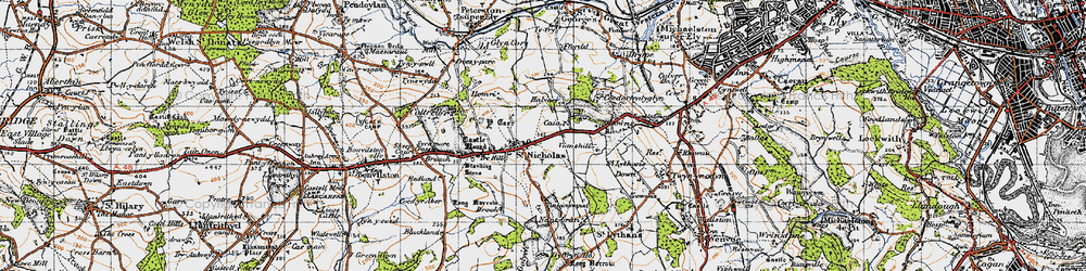 Old map of Tinkinswood in 1947