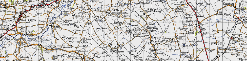 Old map of St Nicholas South Elmham in 1946