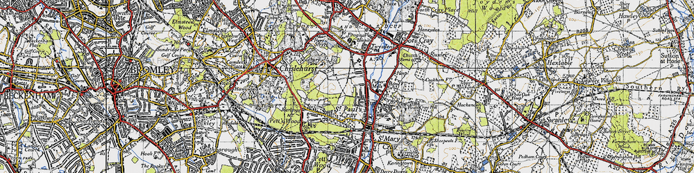 Old map of St Paul's Cray in 1946