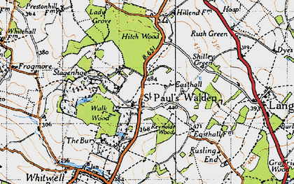 Old map of St Paul's Walden in 1946
