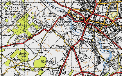 Old map of Abbey Sta in 1946